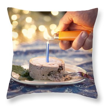 Lighting The Birthday Candle Throw Pillow by Juli Scalzi