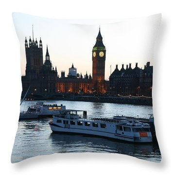 Lighting Up Time On The Thames Throw Pillow
