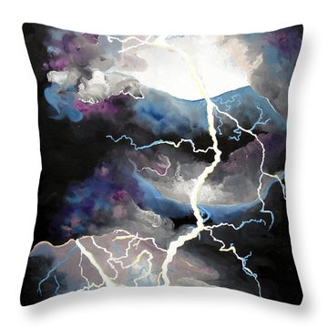 Throw Pillow featuring the painting Lightning by Daniel Janda