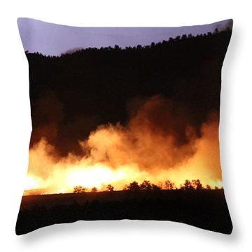Lightning During Wildfire Throw Pillow