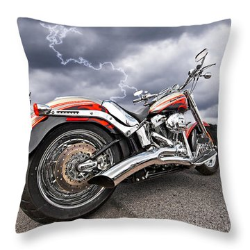 Lightning Fast - Screamin' Eagle Harley Throw Pillow