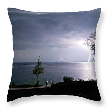 Lightning On Lake Michigan At Night Throw Pillow by Mary Lee Dereske