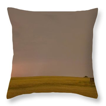 Lightning On The Horizon Of Oil Fields  Throw Pillow by James BO  Insogna