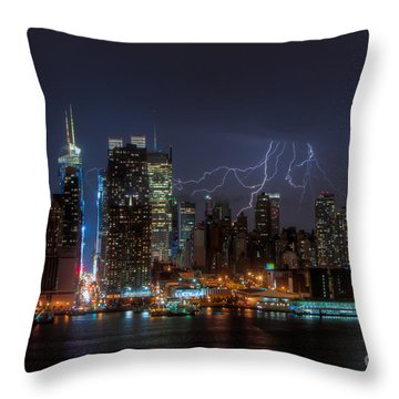 Lightning Over New York City IIi Throw Pillow by Clarence Holmes