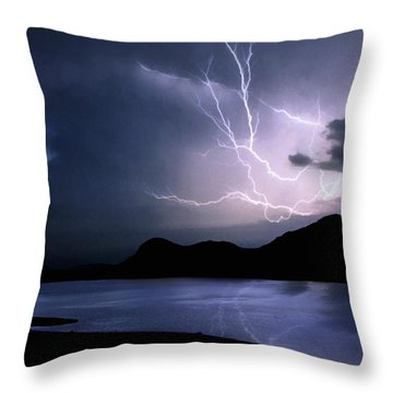 Lightning Over Quartz Mountains - Oklahoma Throw Pillow by Jason Politte