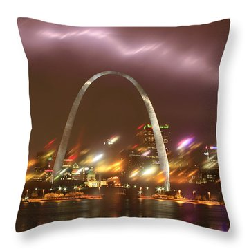Lightning Over The Arch Throw Pillow