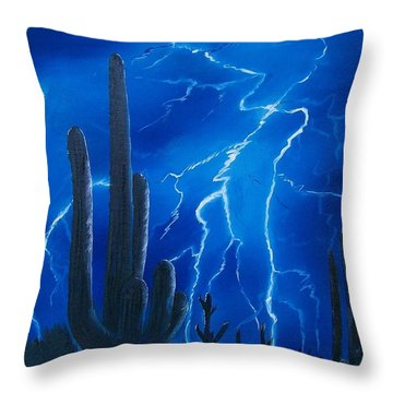 Throw Pillow featuring the painting Lightning  Over The Sonoran by Sharon Duguay