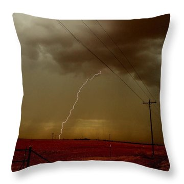 Throw Pillow featuring the photograph Lightning Strike In Oil Country by Ed Sweeney