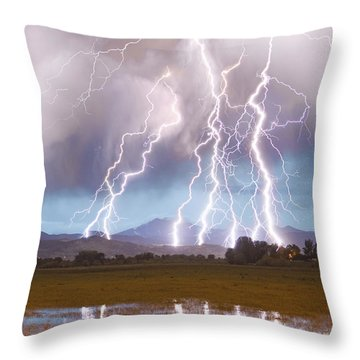 Lightning Striking Longs Peak Foothills 4c Throw Pillow