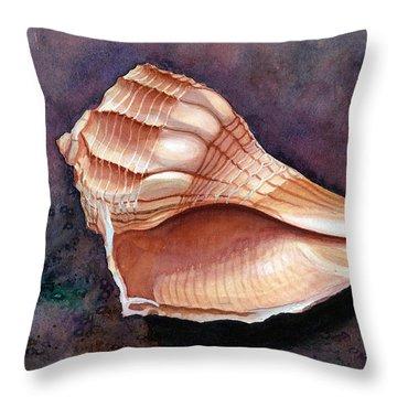 Lightning Whelk Throw Pillow by Barbara Jewell