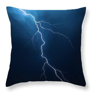 Lightning With Cloudscape Throw Pillow