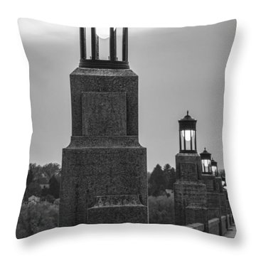 Lights Along The Columbia-wrightsville Bridge In Pennsylvania Throw Pillow