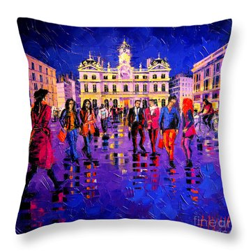 Lights And Colors In Terreaux Square Throw Pillow