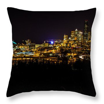Lights Of Seattle Throw Pillow