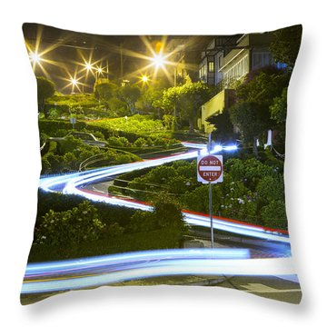 Lights On Lombard Throw Pillow