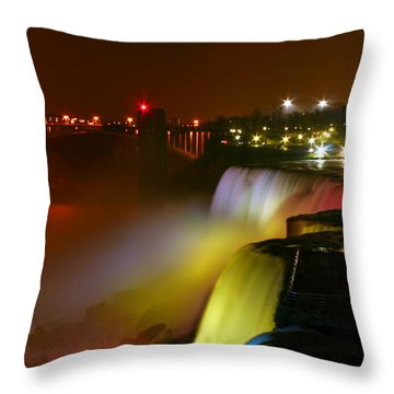 Lights On Niagara Falls Throw Pillow