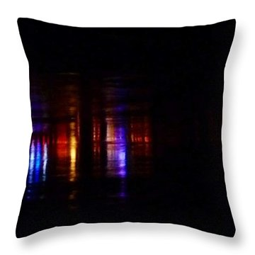 Lights On The River Reflection Throw Pillow by Susan Garren