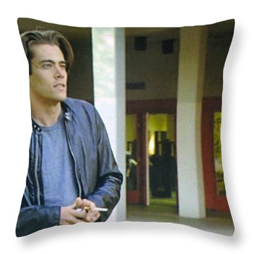 Throw Pillow featuring the painting Like The Night When My Girl Went Away by Luis Ludzska