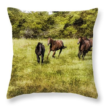 Throw Pillow featuring the painting Like The Wind by Linda Blair