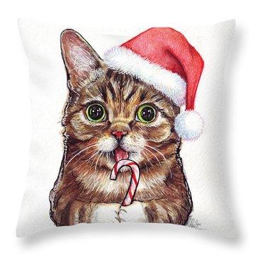 Cat Santa Christmas Animal Throw Pillow