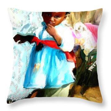 Throw Pillow featuring the painting Lil Girl  by Vannetta Ferguson