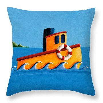 Lil Tugboat Throw Pillow
