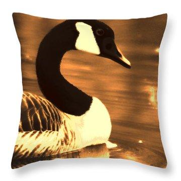 Lila Goose The Pond Queen Sepia Throw Pillow