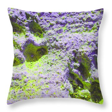 Lilac And Green Pawprints Throw Pillow