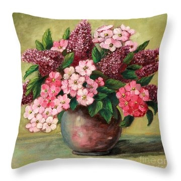 Lilac And Phlox Bouquet Throw Pillow