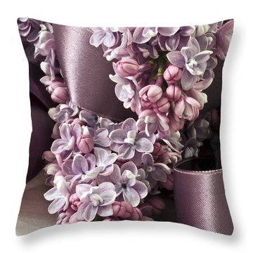 Lilac And Ribbon Curls Throw Pillow by Sandra Foster