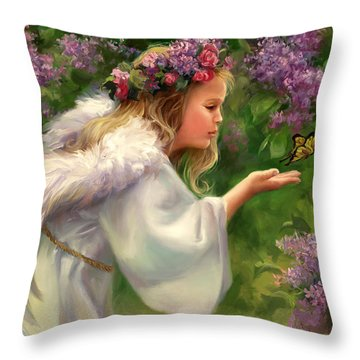 Lilac Angel Throw Pillow