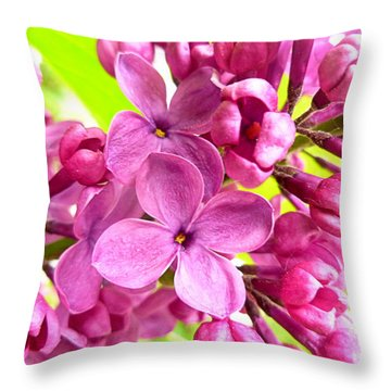 Lilac Closeup Throw Pillow by The Creative Minds Art and Photography