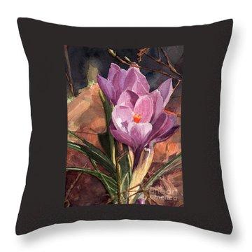 Lilac Crocuses Throw Pillow by Greta Corens