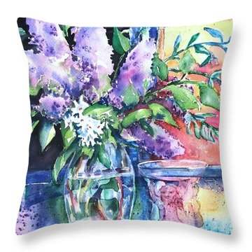 Throw Pillow featuring the painting Lilac Light by Trudi Doyle