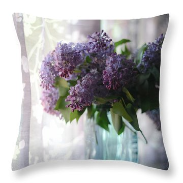 Throw Pillow featuring the photograph Lilac Morning by Linda Mishler