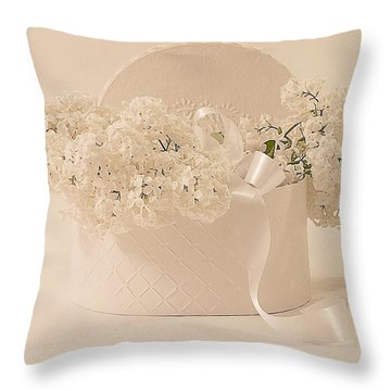 Lilac Purity In A Box Throw Pillow by Sandra Foster