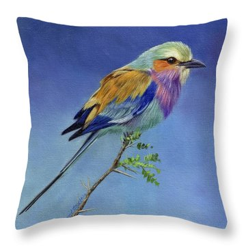 Lilacbreasted Roller Throw Pillow by David Stribbling