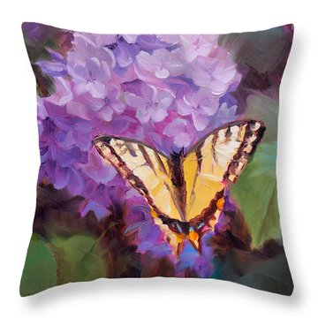 Lilacs And Swallowtail Butterfly Purple Flowers Garden Decor Painting  Throw Pillow