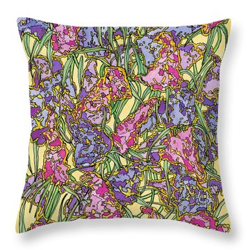 Lilacs Electric Throw Pillow by Mag Pringle Gire