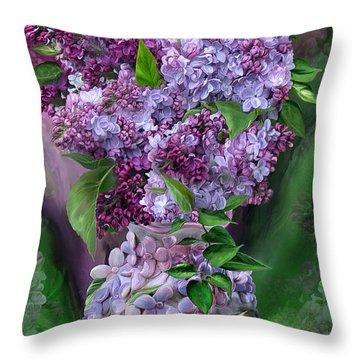 Lilacs In Lilac Vase Throw Pillow by Carol Cavalaris