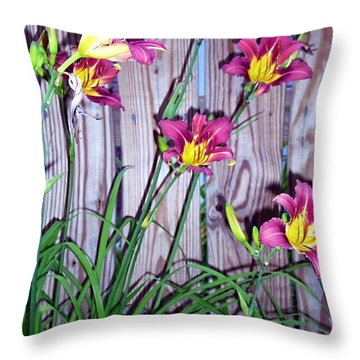 Lilies Against The Wooden Fence Throw Pillow by Danielle  Parent