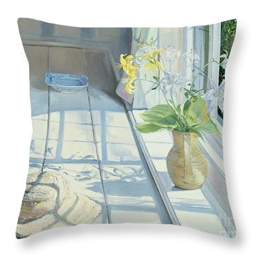Lilies And A Straw Hat Throw Pillow by Timothy Easton