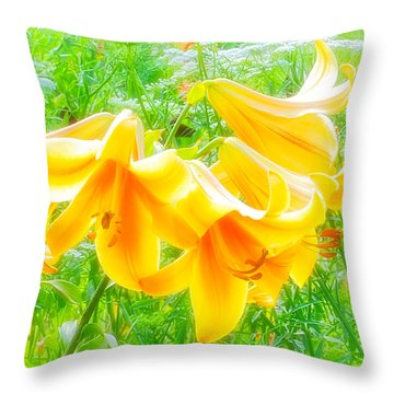 Lilies Back-lit Throw Pillow by Michael Hubley