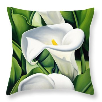 Lilies Throw Pillow by Catherine Abel