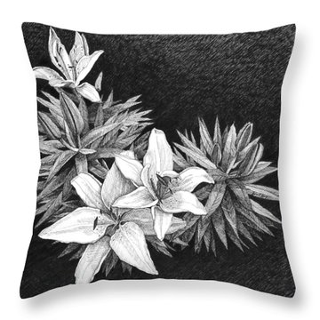 Lilies In Pen And Ink Throw Pillow by Janet King