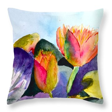 Lilies Of The Water Throw Pillow by Beverley Harper Tinsley