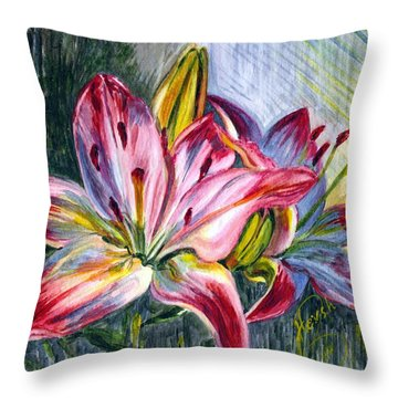 Throw Pillow featuring the painting Lilies Twin by Harsh Malik