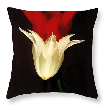 Lilies White Before Red Throw Pillow