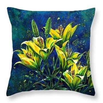 Lilies Throw Pillow by Zaira Dzhaubaeva