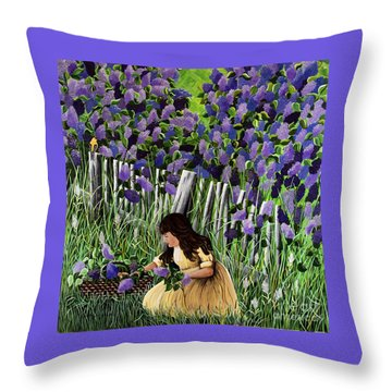 Lillian's Lilacs Throw Pillow